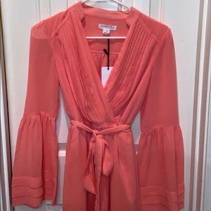 Coral Mock Wrap Dress